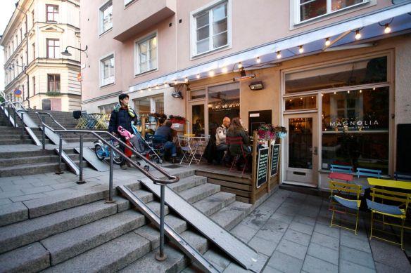 Outdoor cafe seating platforms / parklets in Stockholm