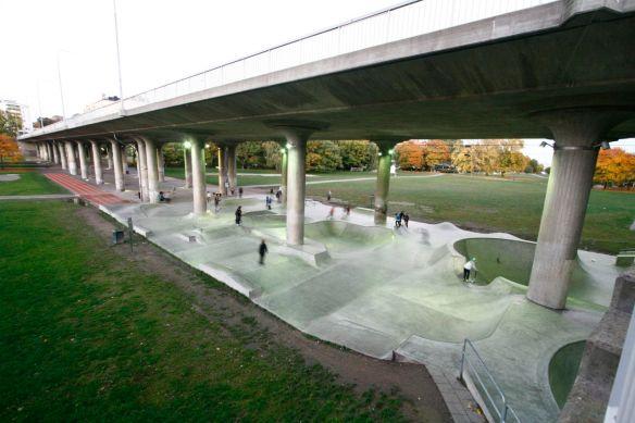 Skatepark built under a freeway in Stockholm